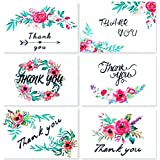 Thank You Cards 36 Pack Thank You Notes Blank Greeting Cards Bulk Set - Blank Inside Cards Floral Designs for Graduation,Wedding,Birthday,Bridal Party,Baby Shower–Gummed Seal Envelopes,4x6 inch