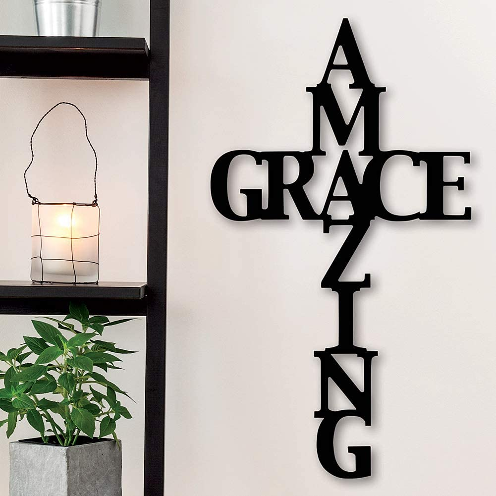 SOPHISTICATED STYLE Amazing Grace Wood Cross - Ready to Hang 18 Inch Tall Christian Wall Décor