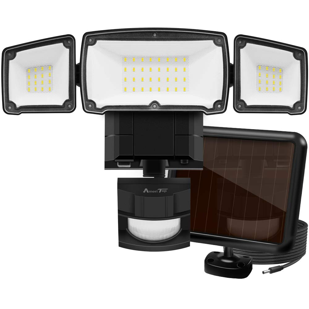 Solar Lights Outdoor, AmeriTop Super Bright LED Solar Motion Sensor Lights with Wide Angle Illumination 1500LM 6000K, 3 Adjustable Heads, IP65 Waterproof Outdoor Security Lighting Black