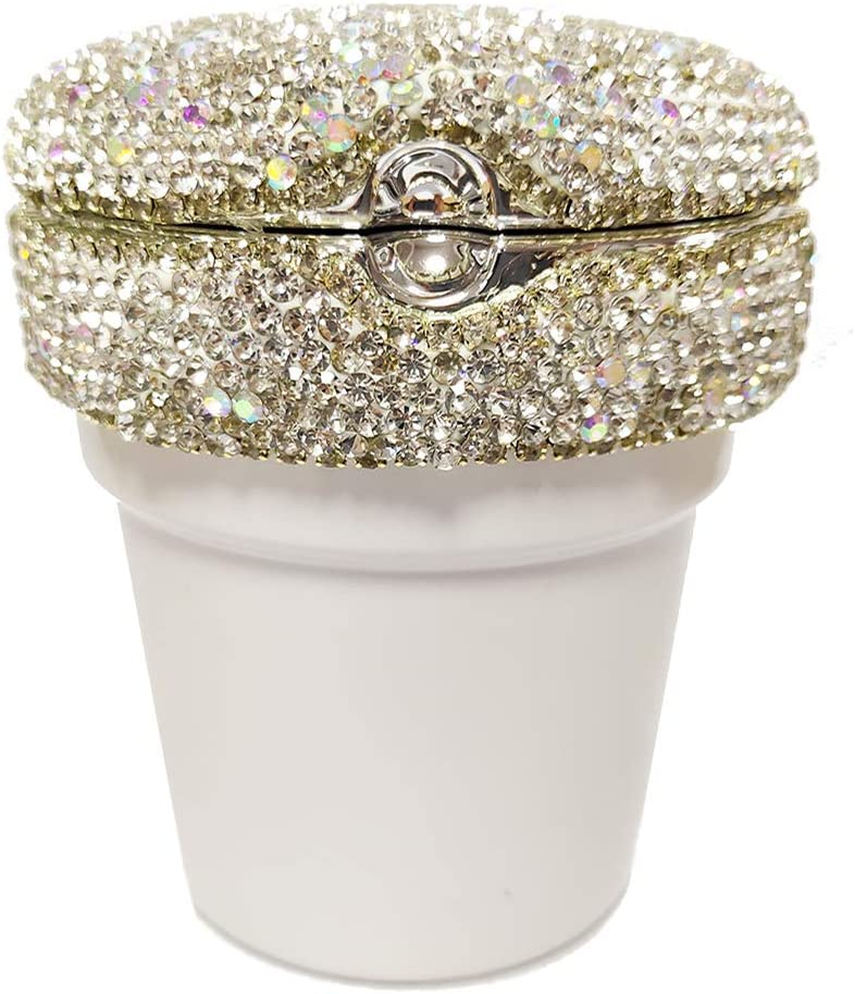 seemehappy Bling Bling Diamond Car Ashtray Cup Holder with Lid and Light Bling Car Accessories for Women White