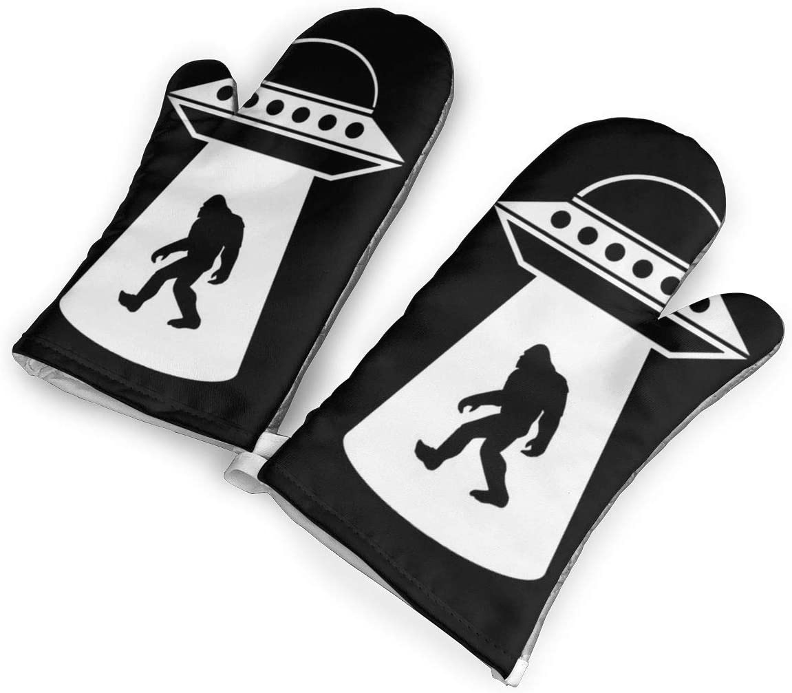 not Alien Bigfoot Oven Mitts with Polyester Fabric Printed Pattern,1 Pair of Heat Resistant Oven Gloves for Cooking,Baking,Grilling,Barbecue Potholders