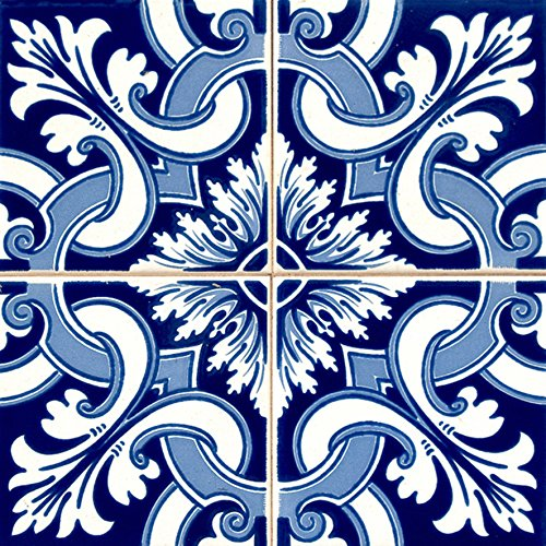 Mi Alma Backsplash Peel and Stick Tile Stickers 24 PC Set Authentic Tile Decals Bathroom & Kitchen Vinyl Wall Decals Easy to Apply Just Peel & Stick Home Decor (8x8 Inch, Indigo H37)
