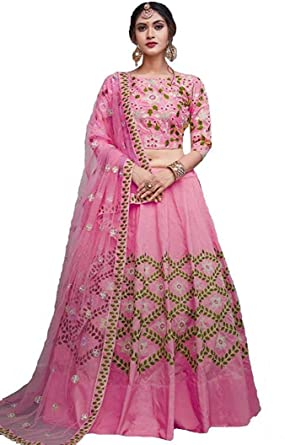 d8ed1c3c97 Fast Fashions Women's Embroidered Semi Stitched Lehenga Choli (Free  Size_Pink&Yellow) (Pink): Amazon.in: Clothing & Accessories