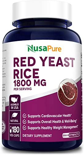 Red Yeast Rice 1800mg 180 Veggie Capsules Non-GMO, Gluten Free – Dietary Supplement Powder Pills to Support Cardiovascular Health