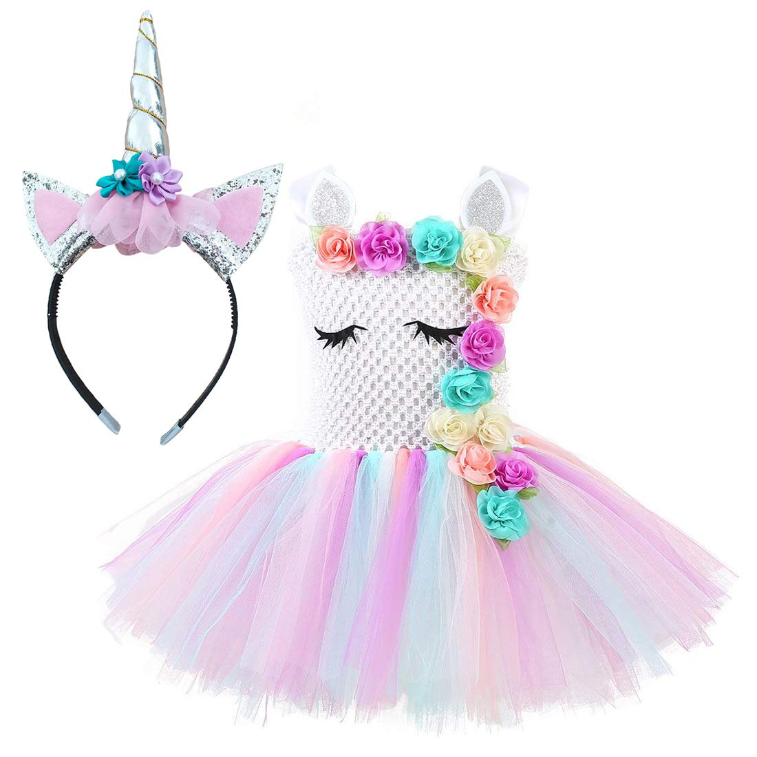 Unicorn Costume for Girls Dress Up Clothes for Little Girls Rainbow Unicorn Tutu with Headband Birthday Gift by rainbow estrella (Image #1)