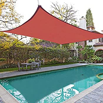 18x18u0027 Square Sun Shade Sail Patio Deck Beach Garden Outdoor Canopy Cover  Uv Blocking (Dark Red)