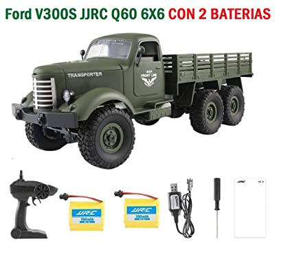MODELTRONIC Camión Radio Control Militar tracción 6X6 alemán Ford V300S JJRC Q60 1:16 2.4G / Tracción 6 Ruedas / Incluye 2 baterias Recargables / ...