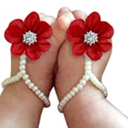 DZT1968 Baby Girl Pearl Chiffon Foot Flower Shoes Barefoot Sandals (Red)
