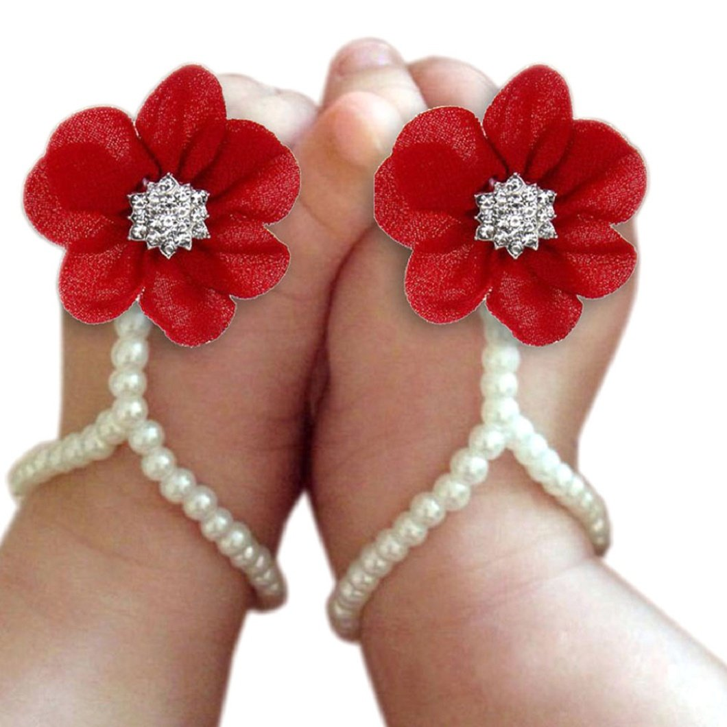 DZT1968 Baby Girl Pearl Chiffon Foot Flower Shoes Barefoot Sandals