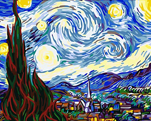 WLDAFEN The Starry Night by Van Gogh Digital Oil Painting DIY 16X20 Inch Paint by Number Kits Unique Gift Acrylic Painting Paint by (No Frame) -
