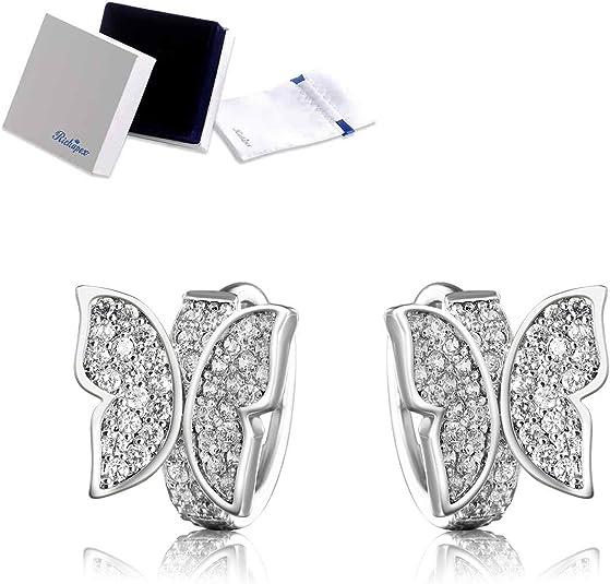 Richapex Silver Earrings Cubic Zirconia Butterfly Hoop Earrings
