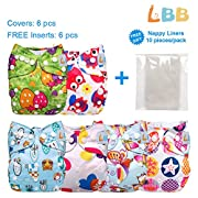 LBB Baby Cloth Diapers Reusable with Adjustable Snaps, 6 Covers + 6 Inserts, LBBZH603