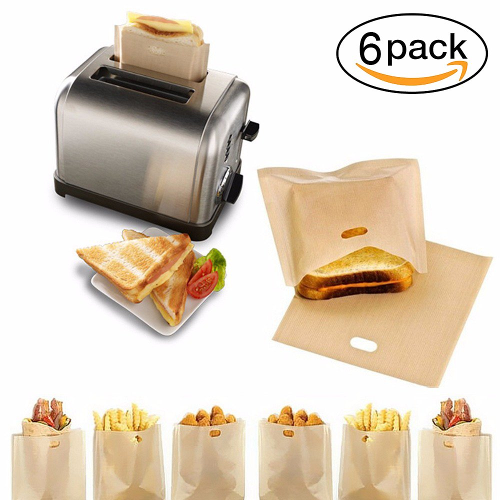 Non Stick Reusable Toaster Bags Set of 6 - PEFE Coated Fiberglass Heat-Resistant Snack Bag for Pizza, Sandwiches, Chicken Nuggets, Sausages or Vegetables in Your Bread Maker, Oven, Grill or Microwave Amhii