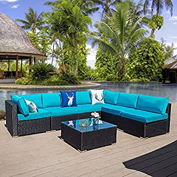 Amazon.com: Glowin Outdoor Patio Sectional Sofa-5 piezas ...