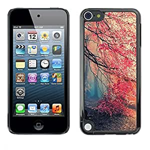 All Phone Most Case / Hard PC Metal piece Shell Slim Cover Protective Case Carcasa Funda Caso de protección para Apple iPod Touch 5 Spring Tree Mist Forest Pink Blossom Cherry