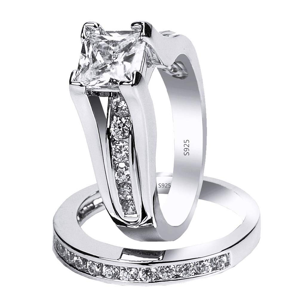 MABELLA 925 Sterling Silver Cubic Zirconia Princess Cut Women's Wedding Engagement Bridal Ring Set Size 7 by MABELLA