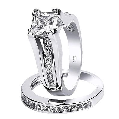 b256d561f45 MABELLA 925 Sterling Silver Cubic Zirconia Princess Cut Women's Wedding  Engagement Bridal Ring Set