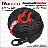 """Ranger 3/8"""" x 100' Jacket Dyneema Synthetic Winch Rope 20,500LBs with Removable Rock Guard by Ultranger"""