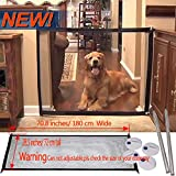 Magic Gate Portable Folding Safe Guard Install Anywhere Pet Safety Enclosure Commercial Magic Gate As Seen On TV(L: 70.8 inches x W:28.3 inches,can not Adjustable & roll up))