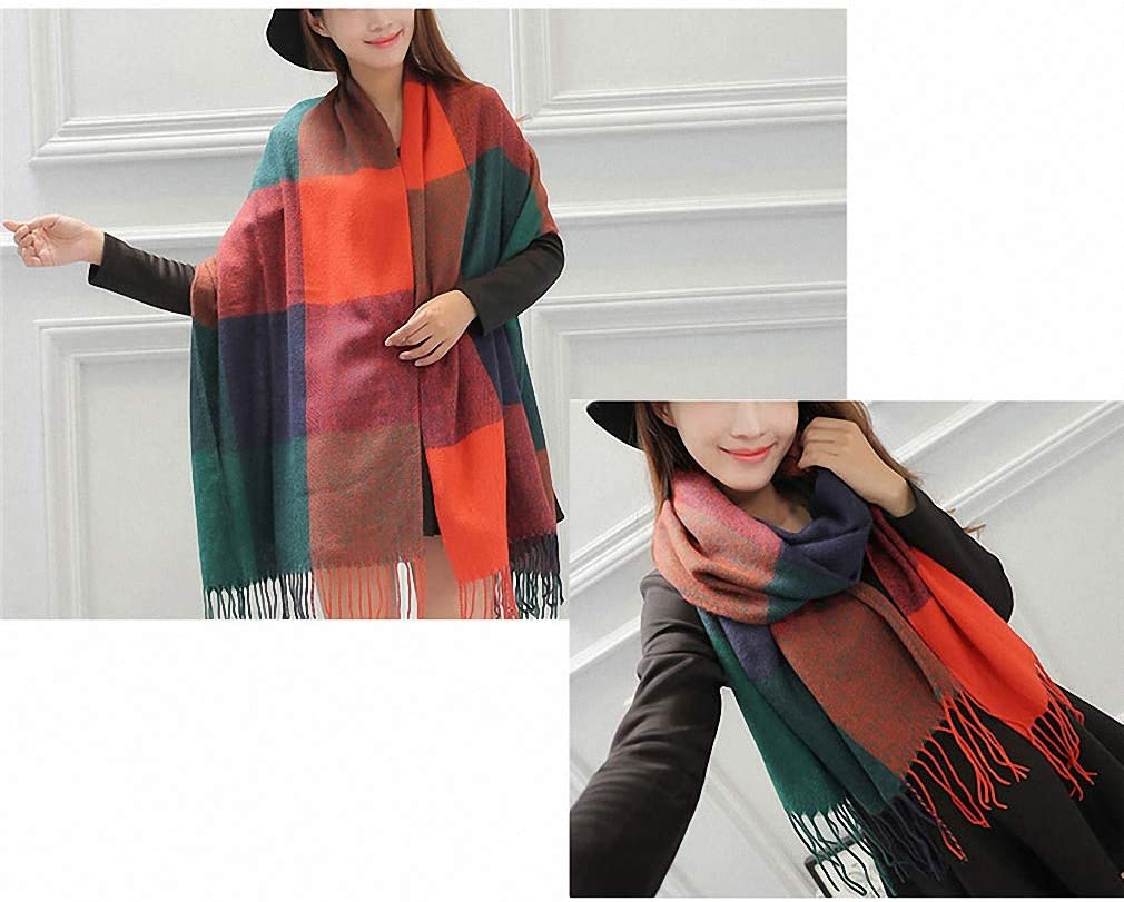 Womens Scarves Autumn Winter Female Wool Plaid Scarf Women Cashmere Scarves Wide Lattices Long Shawl Wrap Blanket Warm Tippet