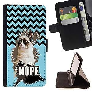 - Chevron Grumpy Cat - - Prima caja de la PU billetera de cuero con ranuras para tarjetas, efectivo Compartimiento desmontable y correa para la mu?eca FOR HTC M8 One 2 King case