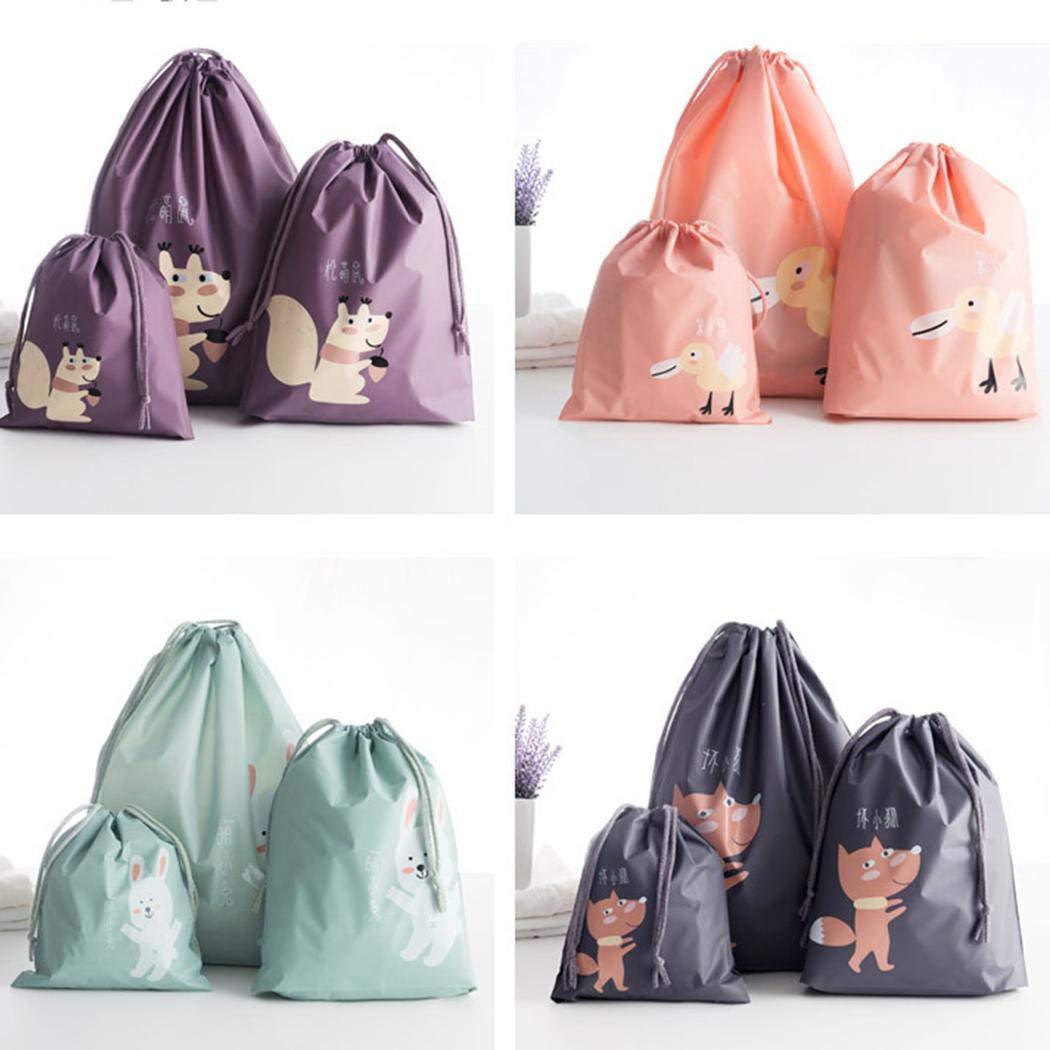 Eroihe Waterproof Travel Organizer Bag Cartoon Shoes Clothes Storage Bag Drawstring Cosmetic Bag