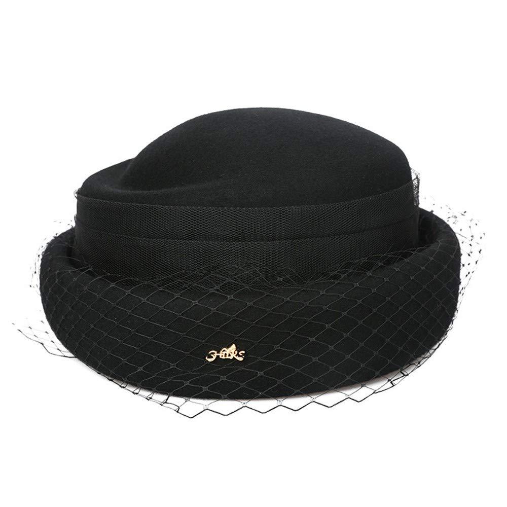 SweetStyle Hat Hut Herbst Winter Hut weibliche Hut Oben Bankett Mesh Baskenmütze, schwarz