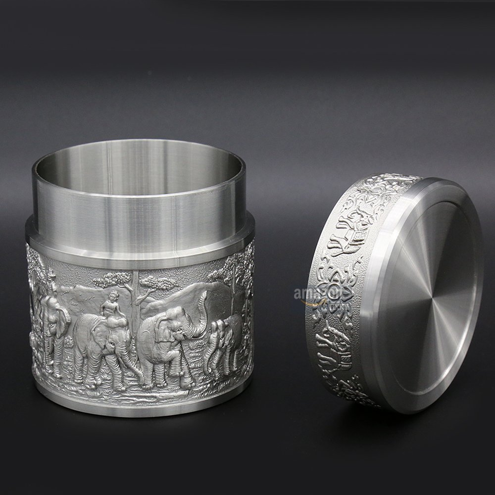Oriental Pewter - Pewter Tea Storage, Caddy -TPCS- Hand Carved Beautiful Embossed Pure Tin 97% Lead-Free Pewter Handmade in Thailand by Oriental Pewter (Image #4)