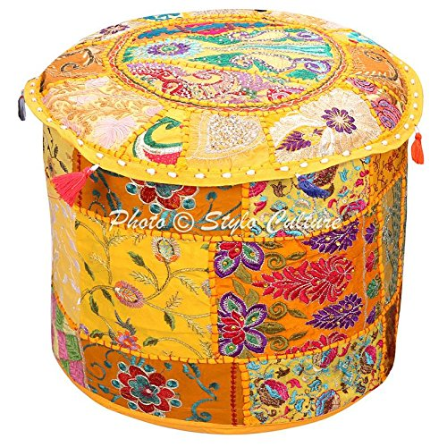 Stylo Culture Indian Vintage Pouf Ottoman Foot Stool Cover Round Patchwork Embroidered Pouffe Ottoman Cover Yellow Cotton Floral Traditional Furniture Footstool Seat Puff Cover (22x22x14)