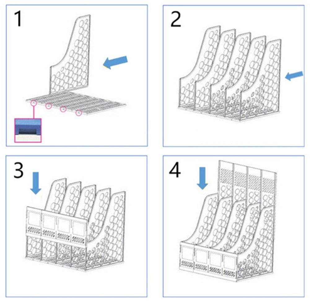 DIY Simple Bookend Removable Bookstand Support Frame Desk Organizer Storage Plastic Book Shelf Rack Bin Heavy Duty Bookcase Nonskid Document File Holder for Office School Supplies Vertical Standard