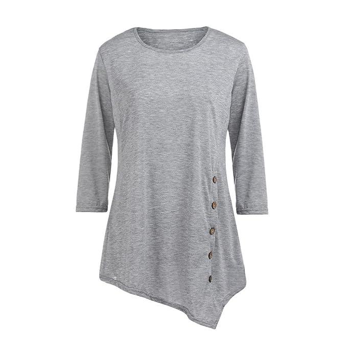 S-6XL talla grande Mujer manga larga botón sólido cuello redondo túnica camiseta tops, Yannerr primavera suelta casual Suéter chaqueta deportiva sudadera ...