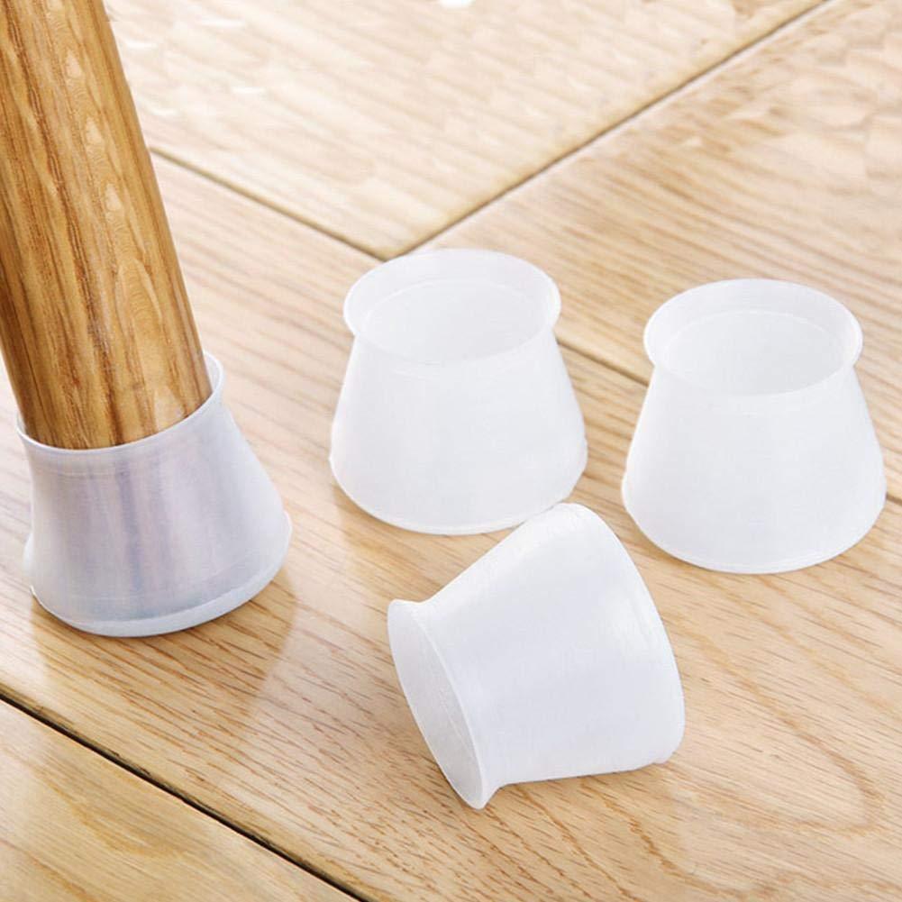 Roche.Z 4PC Silicone Chair Leg Caps Feet Pads Furniture Table Covers Socks Floor Protectors Round Bottom, Chair Leg Floor Protectors, Stool Mute Chair Mat, Non-Slip Cups Diameter 4X3.2cm