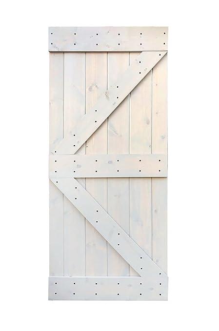 Wellhome 36inx84in K Series Diy Knotty Pine Sliding Barn Door Slab Light Grey