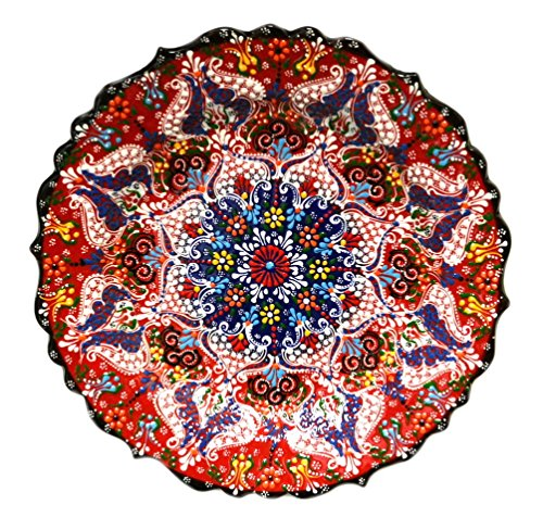 Turkish Ceramics~Hand Painted Ceramic Plate~Red 12inch/30cm