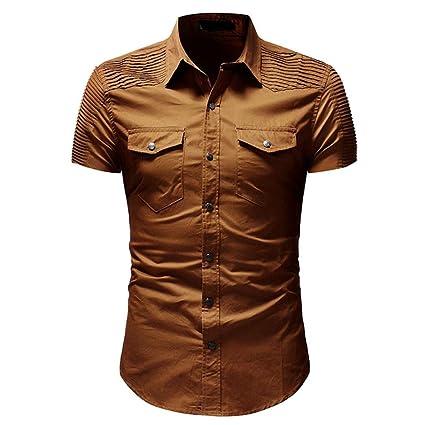 Hombre Camiseta Manga Cortas,Hombre Informal Delgado Ajuste Camisa botón con Bolsillo Blusa de Manga Corta Tops Ropa Casual Diaria para el Trabajo y el ...