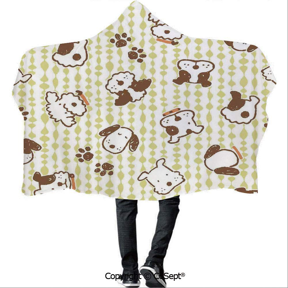 AmaUncle Polyester Hooded Blankets,Modern Pattern with Puppy Dogs and Paws Doodle Style Print Home and Party Decorations Decorative,Unisex All Ages One Size Fits All(59.05x78.74 inch),White Green