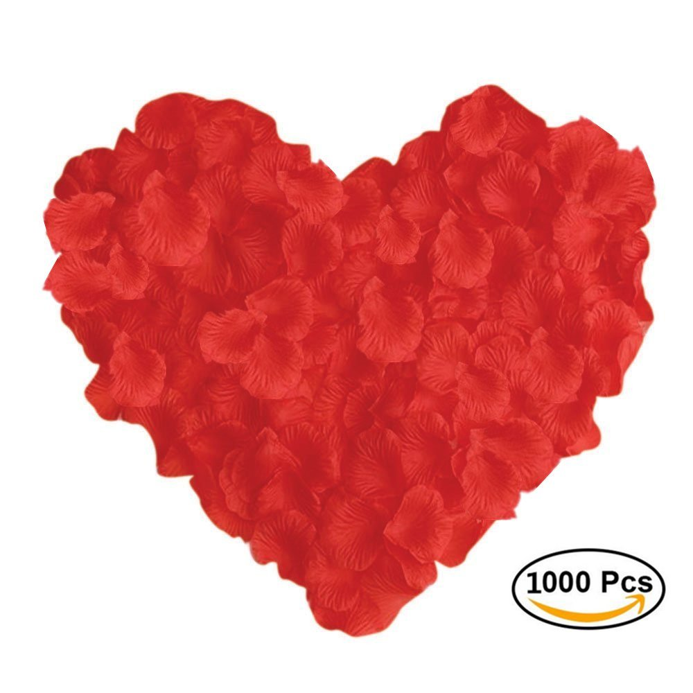 Emivery 1000PCS Dark Red Silk Rose Petals Artifical Flower Petals Wedding Flower Decoration for Wedding Party Home Party Valentine Day Flower Decoration