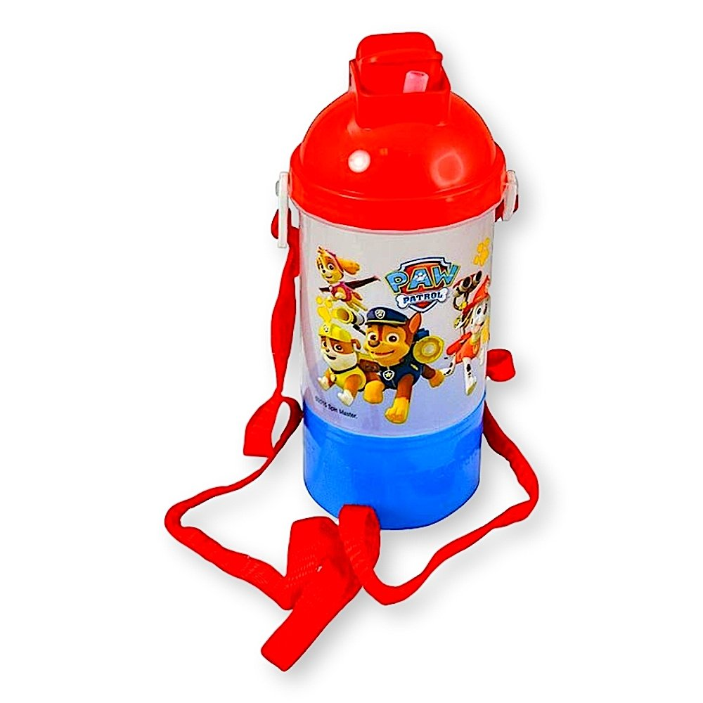 Paw Patrol Rock N Sip N Snack Canteen 15 Ounce Water Bottle With Hidden Snack Compartment, Built-in Straw and Handy Carry Strap