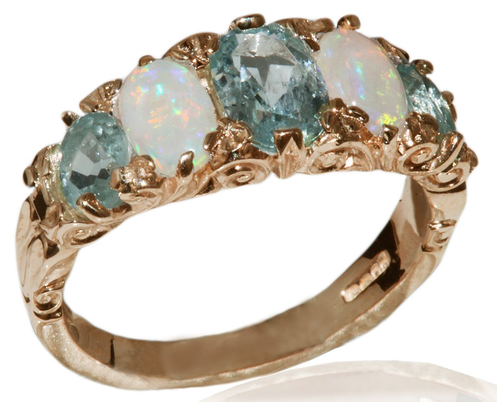 14k Rose Gold Natural Aquamarine and Opal Womens Band Ring - Sizes 4 to 12 Available