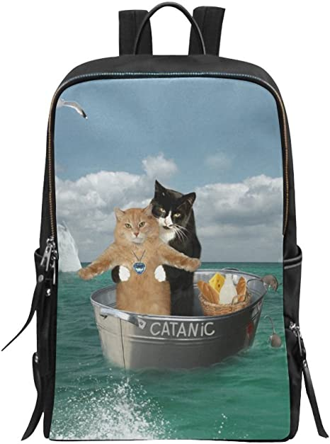 Fashion Classic Bag Angry Crying Cat Sad Face Daypacks for Women with USB Charging Port and Headphone Port for College Work Travel