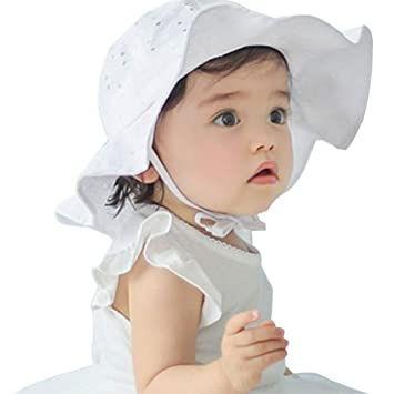 b05ec50c7fc Amazon.com  Floralby Kids Baby Girls Sun Hat Cap Summer Outdoor Beach  Cotton Hat Wide Brim Sun Protection  Baby