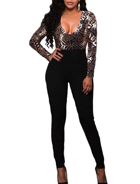 emmarcon Tuta con Paillettes Elegante Pantaloni Lunghi Jumpsuit Vestito  Abito Cerimonia Sera festa-Black-IT44 L  Amazon.it  Abbigliamento 2a7201dfaaed