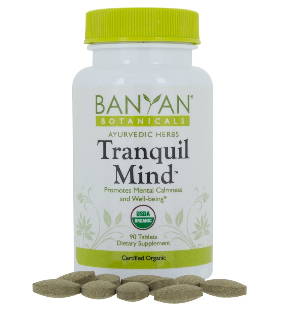 Banyan Botanicals Tranquil Mind - USDA Organic - 90 Tablets - Soothes Nervousness & Stress - Supports a Calm Mind* by Banyan Botanicals
