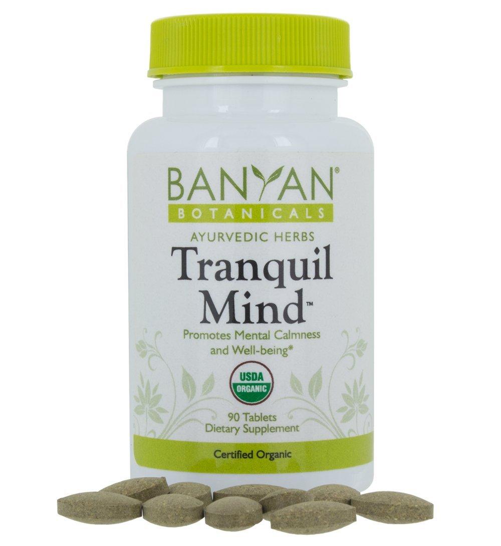 Banyan Botanicals Tranquil Mind - USDA Organic - 90 tablets - Soothes Nervousness & Stress - Supports a Calm Mind*