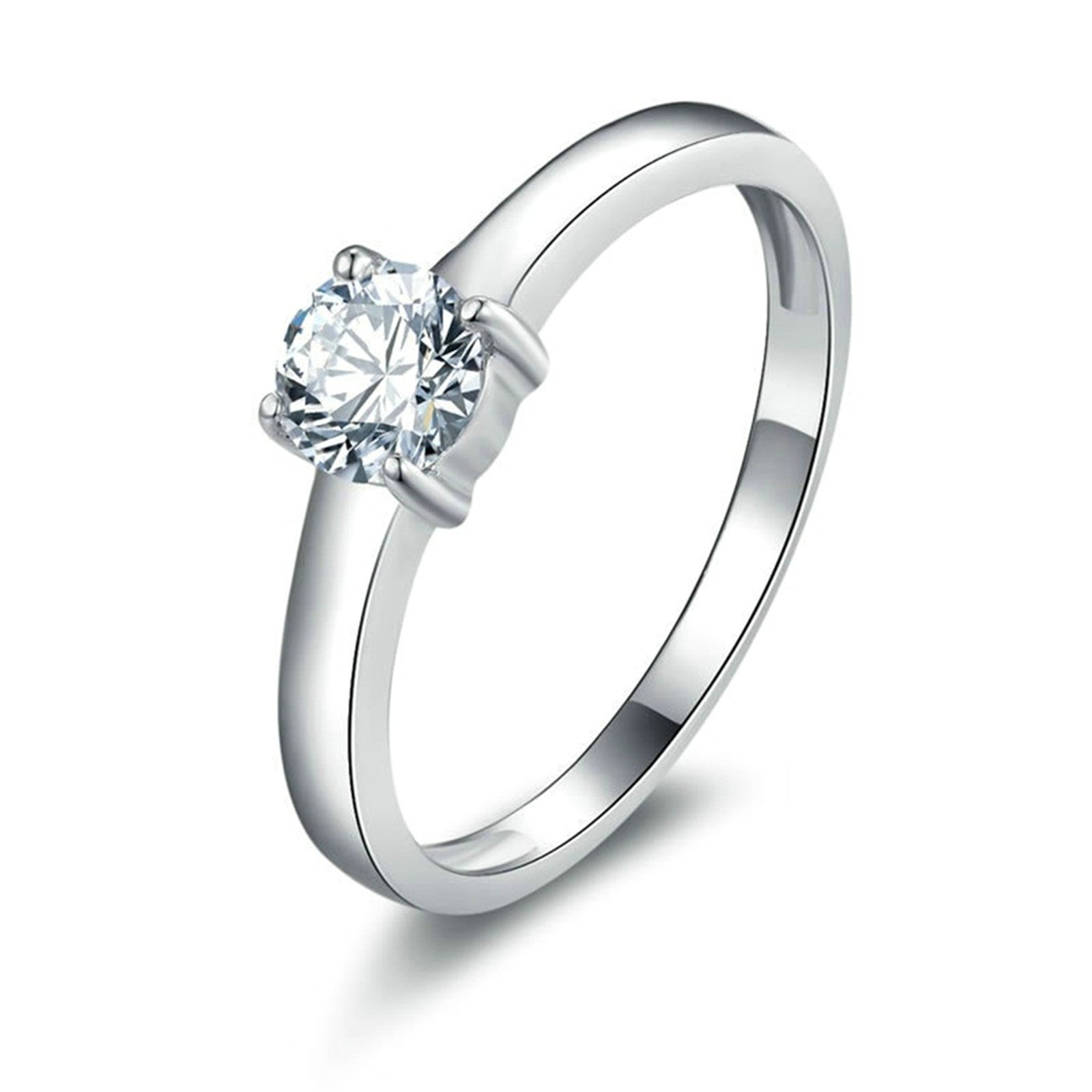 Daesar Promise Ring Personalized 4-Prong Setting Round White Cubic Zirconia Ring Size 7