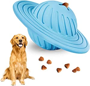 Demorex Interactive Dog Toy Puzzle IQ Treat Ball Food Dispensing Toys for Medium Large Dogs Playing Chasing Chewing UFO Natural Rubber Puppy Toy…