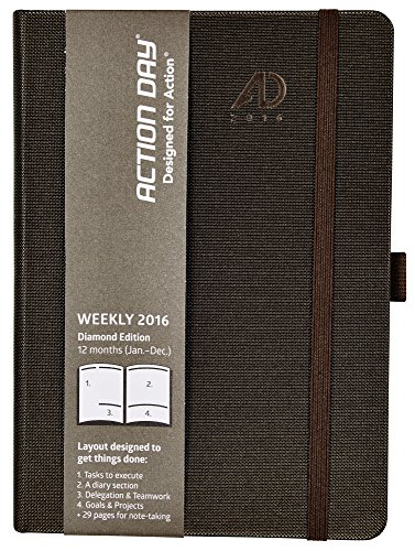 Action Day Planner 2016, Fashion Calendar - Daily Weekly Yearly Monthly Organizer & Goal Journal - Designed to Get Things Done (6x8 / Diamond Edition / Deep Brown)