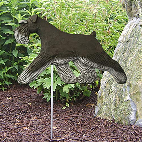 Ky & Co YesKela Schnauzer Uncropped Outdoor Garden Dog Sign Hand Painted Figure Black/Silver ()