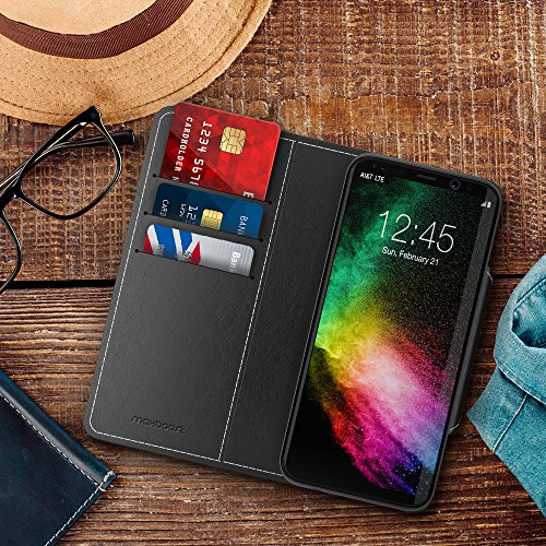 Galaxy S8 Wallet Case, Maxboost [Folio Style] Premium S8 Card Cases STAND Feature for Samsung Galaxy S8 2017 Protective PU Leather Flip Cover with Card Slot + Side Pocket Magnetic