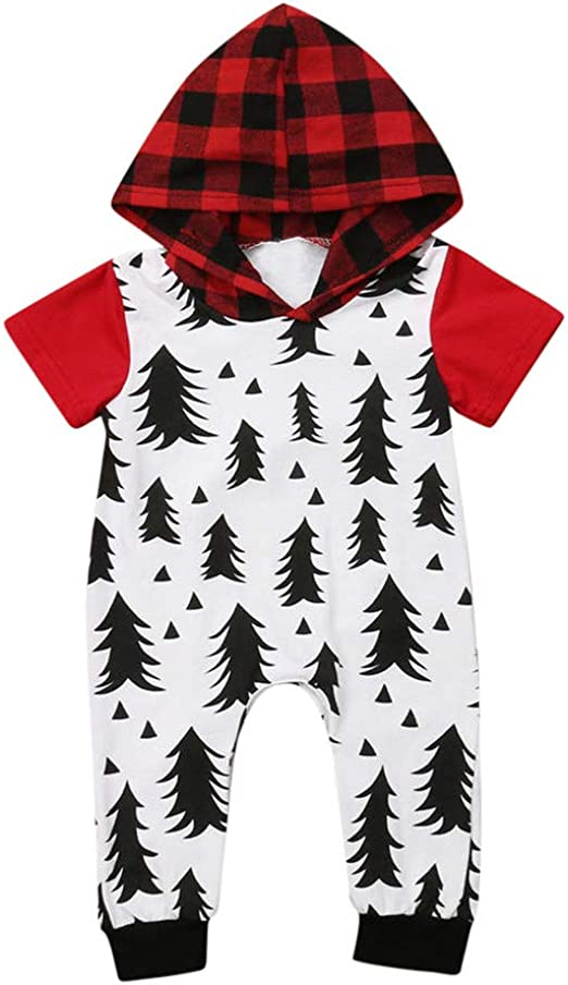 Baby Boy Girls Christmas Romper Velvet Hoodied Snowman Jumpsuit Toddler Pajama Xmas Clothes